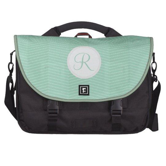 Mint Green Monogram Thin Chevron Pattern Commuter Bags