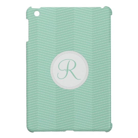 Mint Green Monogram Thin Chevron Pattern iPad Mini Cover
