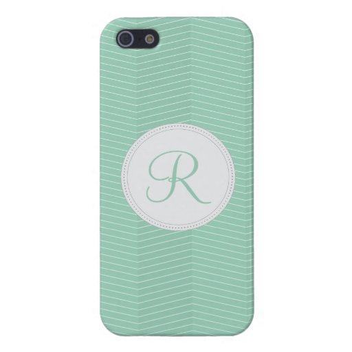 Mint Green Monogram Thin Chevron Pattern iPhone 5 Cases