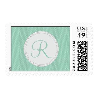 Mint Green Monogram Thin Chevron Pattern Postage