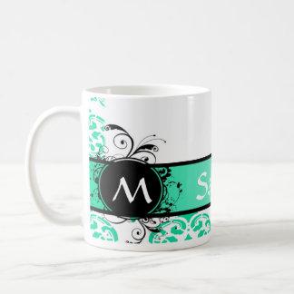 Mint green monogrammed damask coffee mug