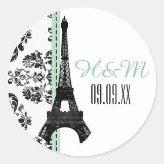 MINT GREEN Monogrammed Damask Eiffel Tower Wedding Classic Round Sticker