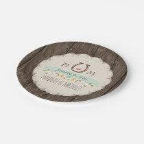Mint Green Monogrammed Horseshoe Heart Wedding Paper Plate