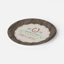 Mint Green Monogrammed Horseshoe Heart Wedding Paper Plate  sc 1 st  Zazzle & Horseshoe Plates   Zazzle