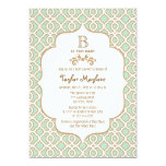 Mint Green Moroccan Gender Neutral Baby Shower 5x7 Paper Invitation Card