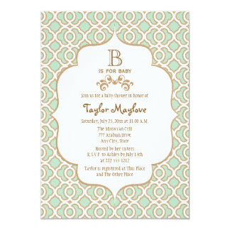 Mint Green Moroccan Gender Neutral Baby Shower Card