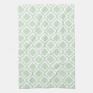 Mint Green Moroccan Quatrefoil Clover Hand Towel