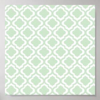 Mint Green Moroccan Quatrefoil Clover Poster