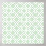 Mint Green Moroccan Quatrefoil Clover Print