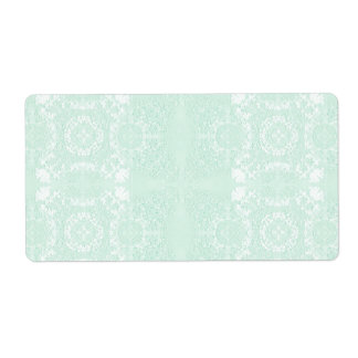 Mint Green Muted Vintage Lace Theme Label