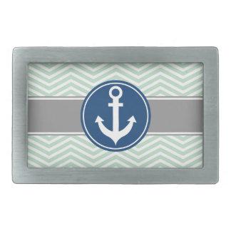 Mint Green Nautical Anchor Chevron Belt Buckle