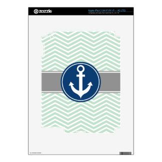 Mint Green Nautical Anchor Chevron iPad 3 Skins