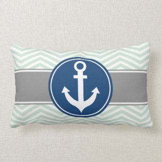 Mint Green Nautical Anchor Chevron Lumbar Pillow