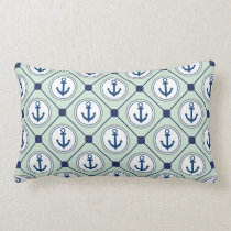 Mint Green Nautical Anchor Pattern Lumbar Pillow