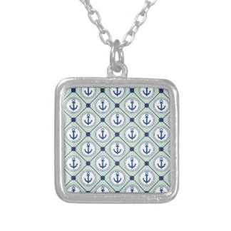 Mint Green Nautical Anchor Pattern Square Pendant Necklace