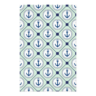 Mint Green Nautical Anchor Pattern Stationery