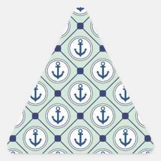 Mint Green Nautical Anchor Pattern Triangle Sticker
