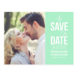 MINT GREEN NAUTICAL PHOTO SAVE THE DATE POSTCARD
