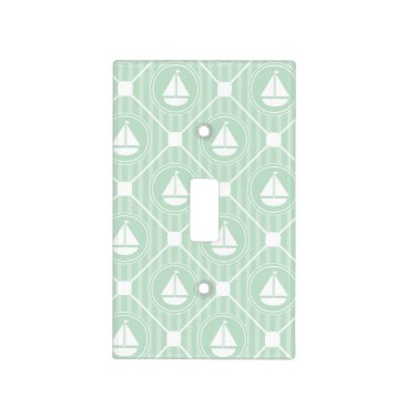 Beach Themed Mint Green Nautical Sailboat Light Switch Cover