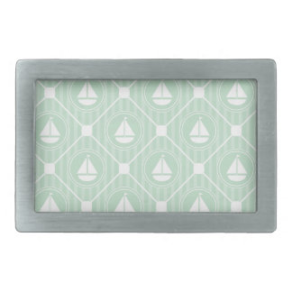 Mint Green Nautical Sailboat Rectangular Belt Buckle