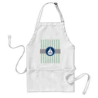Mint Green Nautical Sailboat Stripes Adult Apron