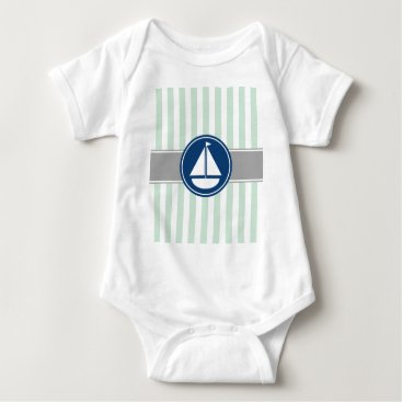 Beach Themed Mint Green Nautical Sailboat Stripes Baby Bodysuit