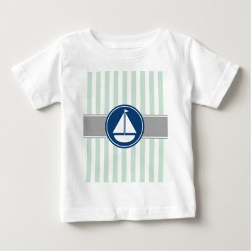 Beach Themed Mint Green Nautical Sailboat Stripes Baby T-Shirt