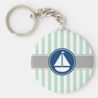 Mint Green Nautical Sailboat Stripes Basic Round Button Keychain