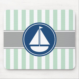 Mint Green Nautical Sailboat Stripes Mouse Pad