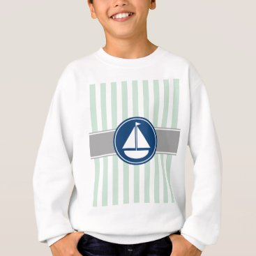 Beach Themed Mint Green Nautical Sailboat Stripes Sweatshirt