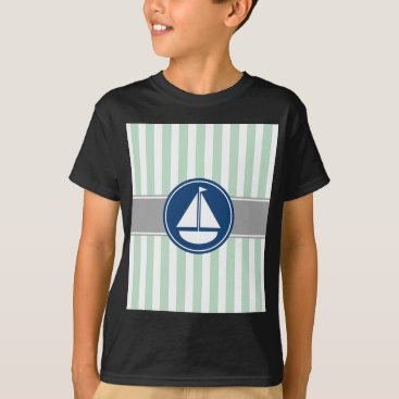 Beach Themed Mint Green Nautical Sailboat Stripes T-Shirt