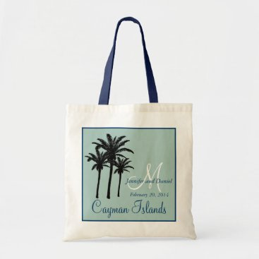Beach Themed Mint Green Navy Blue Beach Wedding Palm Trees Tote Bag