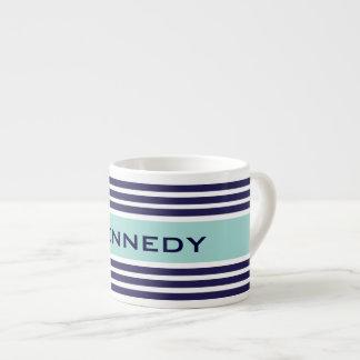 Mint Green & Navy Blue Stripes Custom Monogram 6 Oz Ceramic Espresso Cup