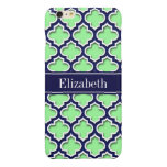 Mint Green, Navy Moroccan #5DS Navy Name Monogram Glossy iPhone 6 Plus Case