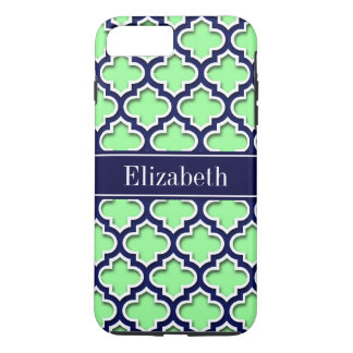 Mint Green, Navy Moroccan #5DS Navy Name Monogram iPhone 7 Plus Case