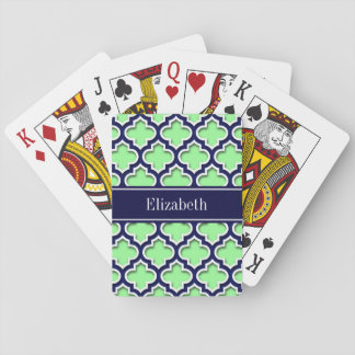 Mint Green, Navy Moroccan #5DS Navy Name Monogram Playing Cards