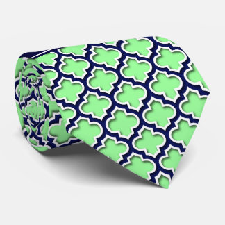 Mint Green, Navy Moroccan #5DS Navy Name Monogram Tie
