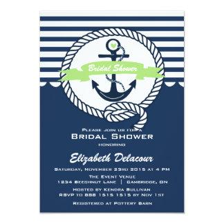 Mint Green Navy Nautical Bridal Shower Invitation