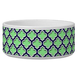 Mint Green Navy White Moroccan Quatrefoil #5DS Bowl