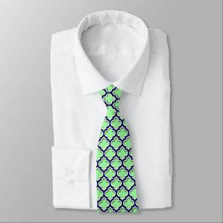 Mint Green Navy White Moroccan Quatrefoil #5DS Neck Tie