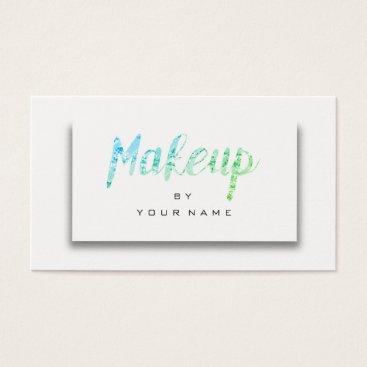 McTiffany Tiffany Aqua Mint Green Ocean Metallic Minimal Makeup Artist 3D Business Card