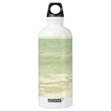Beach Themed Mint Green Ocean Pastel Beach Photography Aluminum Water Bottle
