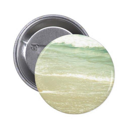 Mint Green Ocean Pastel Beach Photography Button