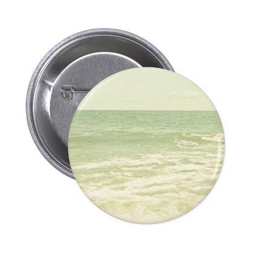 Mint Green Ocean Pastel Beach Photography Pinback Button