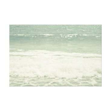 Beach Themed Mint Green Ocean Pastel Beach Photography Canvas Print