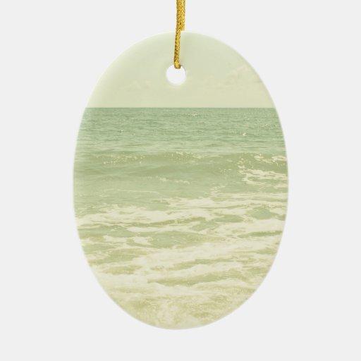 Mint Green Ocean Pastel Beach Photography Christmas Ornament