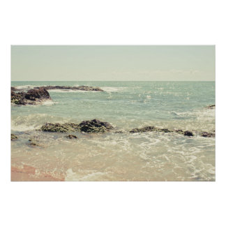 Mint Green Ocean Pastel Beach Photography Poster