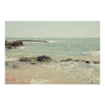 Beach Themed Mint Green Ocean Pastel Beach Photography Poster