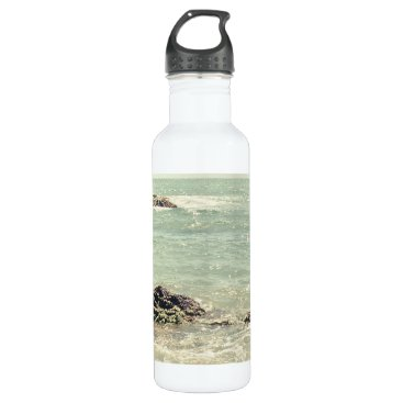 Beach Themed Mint Green Ocean Pastel Beach Photography Stainless Steel Water Bottle