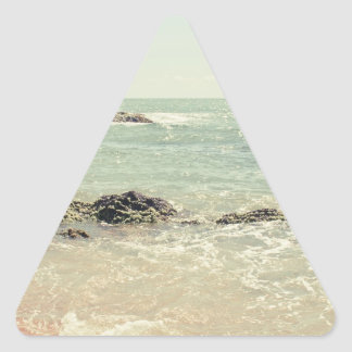 Mint Green Ocean Pastel Beach Photography Triangle Sticker